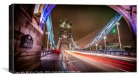 Tower Bridge - Lights passing by., Canvas Print