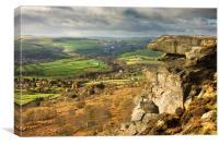 Curbar Edge and view, Canvas Print