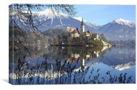 Church of the Assumption of Mary on Bled Island La, Canvas Print