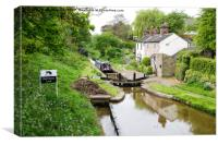 Hall Green Stop Lock at the Junction of the Maccle, Canvas Print