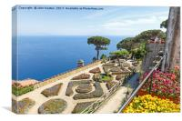 A view of the Amalfi Coast from the formal gardens, Canvas Print