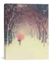 The pink umbrella, Canvas Print