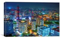 Yokohama city lights, Canvas Print