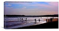 Fun on the beach at sunset , Canvas Print