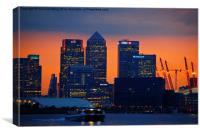 Canary Wharf at sunset , Canvas Print