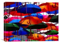 A shower of umbrellas , Canvas Print