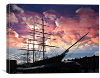 Sunset over the Cutty Sark Clipper, Canvas Print