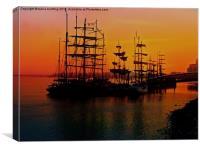 Tall ships at sunrise , Canvas Print