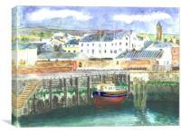 Peel Harbour, Isle of Man, Canvas Print