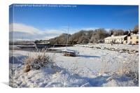 Snow Scene in Red Wharf Bay, Canvas Print