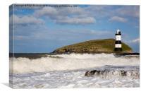 Penmon Lighthouse in Rough Seas, Canvas Print