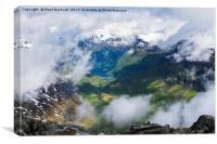 Geiranger Fjord through Clouds, Canvas Print