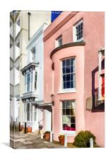 Pink Cottage in Grand Parade, Portsmouth, Canvas Print