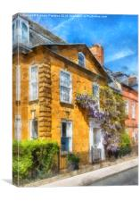 Cotswold Town House With Wisteria, Canvas Print