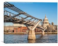 St Pauls Cathedral and Millennium Bridge, Canvas Print