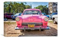 A Very Pink Classic Vintage Car In Havana, Cuba, Canvas Print