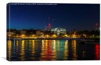 Victoria Embankment, London, at night, Canvas Print