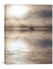 Boat in mist in Bay of Islands, Canvas Print