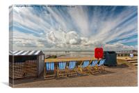Six empty deckchairs at Southend, Canvas Print