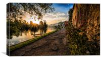 Sunset over the Seine at Les Andelys, Canvas Print