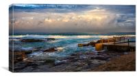 Avalon rockpool with approaching storm, Canvas Print