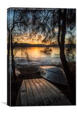 Narrabeen Lake sunset with boats, Canvas Print