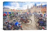 Bicycles in Brugge, Belgium, Canvas Print