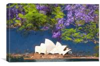Sydney icon with jacaranda, Canvas Print