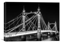 Albert Bridge in Black and White, Canvas Print