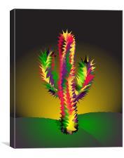 Cactus At Night Cartoon, Canvas Print