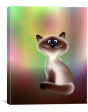 Smiling Cat Cartoon, Canvas Print