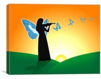 Violinist & Butterflies, Canvas Print