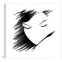 Innocent & Shy Sketch, Canvas Print