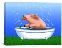 Pig with Roses Taking Bath, Canvas Print