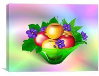Apples & Violets in Vase, Canvas Print