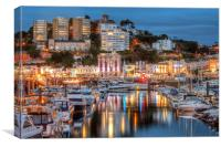 Torquay Harbour and Town at Night, Canvas Print