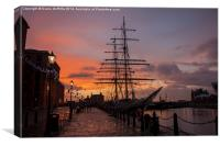 Liverpool Sunset Ship, Canvas Print