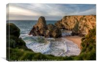 Black Humphrey Rock on Whipsiderry beach, Newquay, Canvas Print
