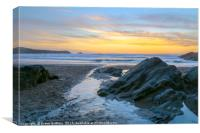 Fistral Beach Sunset by the rocks, Canvas Print