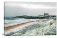 Fistral Beach under Snow, Canvas Print