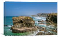 North Cornwall Coastline from Trevelgue Head, Canvas Print