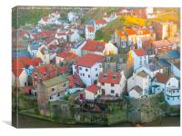 Staithes Fishing Village Evening, Canvas Print