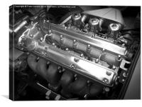 E-Type Jaguar Sports Car Engine, Canvas Print