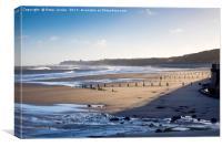 Rough sea in Winter Sunshine at Sandsend near Whit, Canvas Print