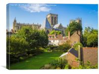 The view over the Deans Garden at York Minster Fro, Canvas Print