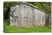 Weathered wooden out building garage in the Englis, Canvas Print