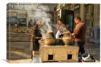 Hot Chestnut Stall, Lisbon., Canvas Print
