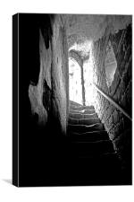 Spooky Staircase at Stokesay Castle, Shropshire, Canvas Print
