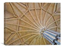 Vaulted Ceiling in Lincoln Cathedral, Canvas Print