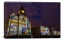 Light projections on the Three Graces, Canvas Print